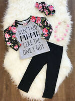 New Kids Baby Girls Clothes Floral Top T-shirt+Pants Leggings Toddler Outfit Set
