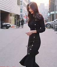 Women Black Knitted Sweater Wrap Dress Slim Fit Fishtail Frilly Skirt Tops B248
