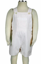 JACADI Girl's Tour White and Pink Stirped Short Overalls Size 18 Months NWT $46