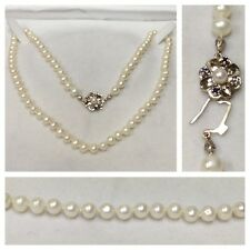 Perlenkette Perlencollier 585er Gold Verschluss Saphir