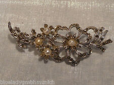 Brosche ✿ Blüten Ranke Perlen ✿ STRASS Anstecknadel NADEL Kristalle