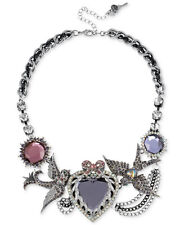 NWT BETSEY JOHNSON 'Iconic Amethyst' Purple Gem Heart & Bird Frontal Necklace