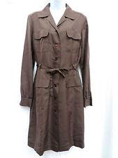 MAX MARA Womens Brown Silk Career Button Down Safari Shirt Dress 40 10 42 12 44