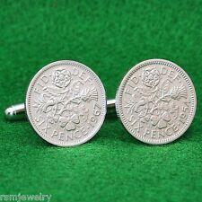 British Sixpence Coin Cufflinks, QE2  Lucky Wedding English UK