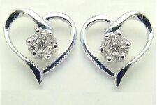 10K White Gold Diamond Heart Earrings White Diamond Cluster Earrings .15ct