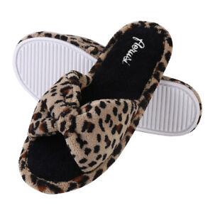 Cozy Open Toe Leopard Pattern Slippers Women Fashion Bowknot Spa Indoor Shoes