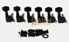 Black 6 Inline Guitar Tuning Keys Guitar Tuners Machine Heads for Strat Tele