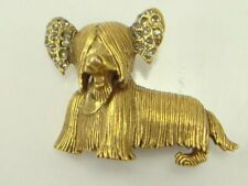 Vintage Maltese Dog Pin Brooch Puppy Rhinestone Ears Figural Jewelry
