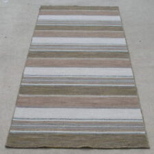 """Vintage Hand Woven Flat Woven Wool On Cotton Oriental Rug Stripes Design 30x88"""""""