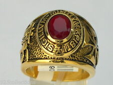 Knights Templar Masonic Mason 9x7 mm 1.80 Ct January CZ Garnet Men Ring Size 12
