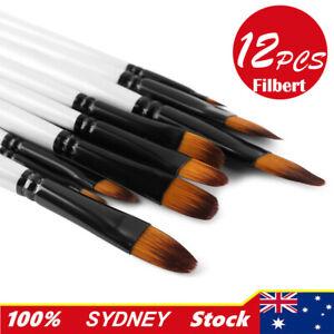 12Pcs Filbert Art Paint Brush Nylon Pearl White Watercolor Acrylic Paint Brushes