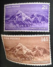 India 1953 Everest Set Of 2 Stamps mint hinged