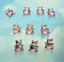 Teddy Bear resin cabochon x 10, flat back in pink, baby