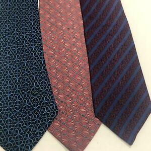 Lot of 3 HERMES Paris Silk Tie  Ties All with slight Issues