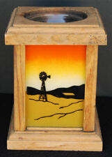 1977 Wood & Painted Glass The Three Bears Farm Windmill Silhouette Candle Holder