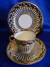 STUNNING Antique Davenport Blue and Gold Cup , Saucer, side plate TRIO set