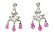 18K White Gold Women's Natural Pink Quartz Pear Drops .31 TDW Diamonds Earrings