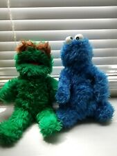 Vintage Knickerbocker Sesame Street Plush Oscar & Cookie Monster 1970's Lot Of 2
