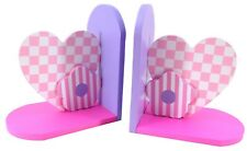 Think Pink Girls Wooden Bookend Set Purple Flower Heart Novelty Book Stand Gift