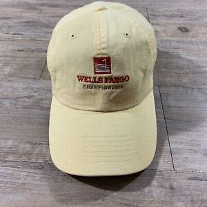 Wells Fargo Championship Golf Hat Tour Cap Logo Baseball Strap Back Beach Yellow