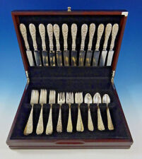 Rose by Stieff Sterling Silver Flatware Set For 12 Service 48 Pieces Repousse