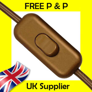 Gold In Line Switch Low Profile Torpedo Design 2 or 3 Core Flex Ideal for Lamps