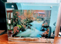 Vintage Framed Light Up Motion Waterfall Wall Picture With Water Bird Sounds