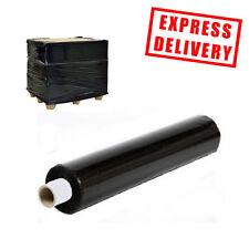 6 ROLLS BLACK 400MM x 250M HEAVY DUTY PALLET SHRINK WRAP EXTENDED CORE 17 MICRON