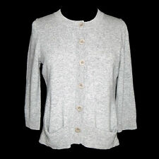 Eileen Fisher 100% Cashmere Gray Button Crewneck Cardigan Sweater Sz - XS