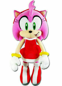 "Great Eastern Sonic The Hedgehog - Amy Rose in Red Dress Plush 9"" Inch Tall NEW"