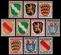 ✔️ GERMANY ALLIED FRENCH ZONE 1945 COAT OF ARMS SC. 4N1/4N10 ** MNH OG [ST0016]