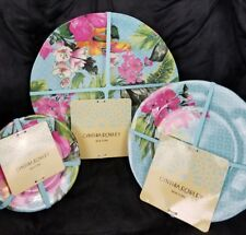 NEW Cynthia Rowley 12pc Blue Green Pink Floral Melamine Dinner Set Plate Bowl