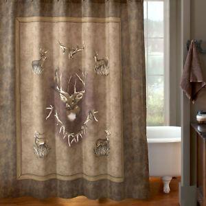 "Blue Ridge Trading Whitetail Ridge Fabric Shower Curtain 72""x72"" Bucks Browns"