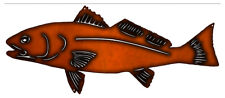 Vintage Style Metal Sign Fish Faux Copper Finish 10x23