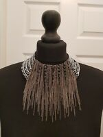 FIONA PAXTON Silver/Gunmetal/ Leather Chain Fringe & Stud Collar Necklace