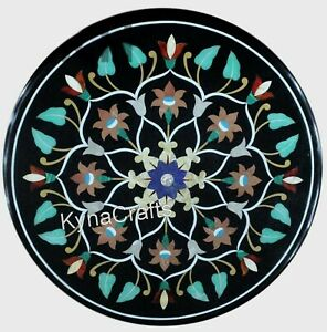 Round Marble Coffee Table Top Leaf Design End Table for Balcony Decor 15 Inches