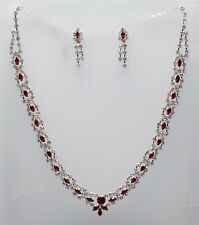Necklace & Earrings Dark Red & Clear Rhinestone Crystal Set Bridal Party 1786b
