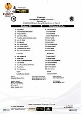 Teamsheet - Chelsea v Sparta Praha 2012/13 UEFA Champions League