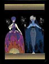 Erte 1987 Lovely Women in Evening Night Fancy Gown Dress MATTED Art Deco Print