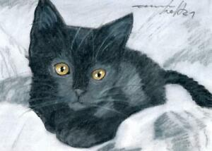 ACEO original pastel drawing black kitten cat chat noir by Anna Hoff