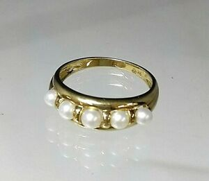 Antique Style Pearl 5 Stone Ring 9carat Gold Hallmarked Sz O