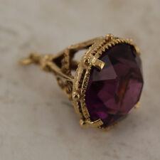 9ct Yellow Gold Masonic Purple Stone Fob Pendant