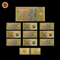 WR 10X Zimbabwe 100 Trillion Dollars Notes 24KT Gold Leaf Banknote Bulk Lot Set