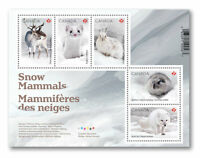 2021 Canada Snow Mammals Souvenir Sheet 5 Stamps Ermine Hare Caribou Lemming