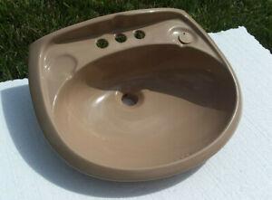 Desert Sand Brown Pedestal Sink Top Ceramic Classic Color 148 Vintage Porcelain