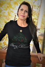 Christmas Rhinestone Bling shirt XS S M L XL XXL 1X 2X 3X 4X5X Christmas Tree