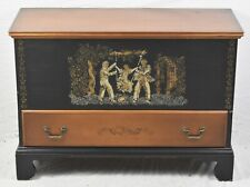 HITCHCOCK Black PAINT DECORATED GROTON BLANKET CHEST (SWING SCENE) Rare