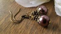 Eggplant purple pearl drop earrings, beaded, glass Swarovski crystals, bronze