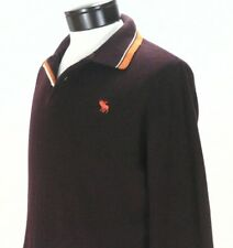 Abercrombie & Fitch Men's Long Sleeve Rugby Polo Shirt Bordo Large L EUC