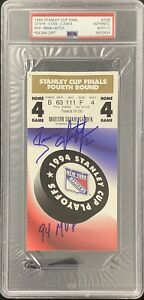 Brian Leetch Signed Full Ticket 6/14/95 Stanley Cup PSA/DNA Autograph 10 Rangers
